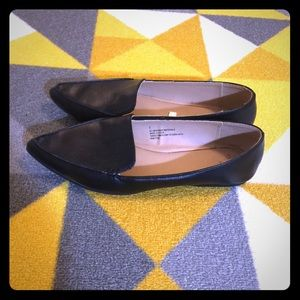 A new day black faux leather loafers size 7